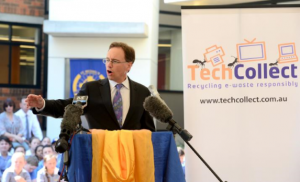 Federal Environment Minister, Greg Hunt and TechCollect talk e-waste with primary students at St Michael's Primary School in Blacktown in NSW on 7 Nov 2013