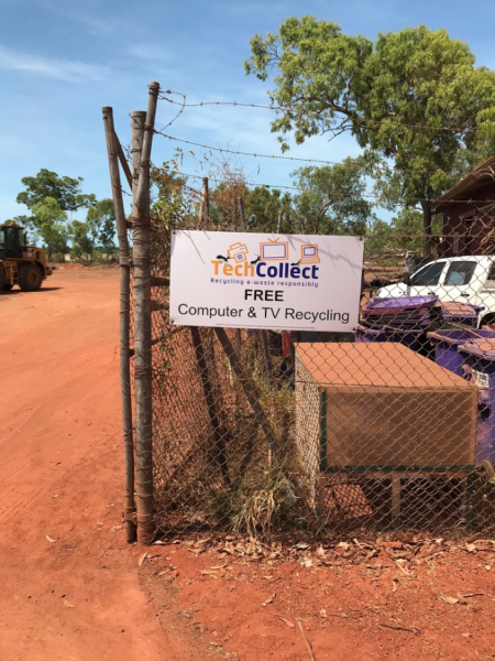 This is the TechCollect site at Ramingining Community in East Arnhem Land. During the wet season each year recycling gets put on hold, and the Council undertakes an e-waste drive with local businesses and communities to collect unwanted e-waste.