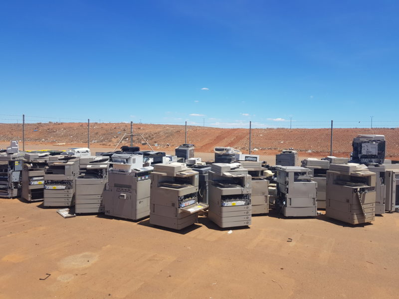 Karratha residents and surrounding communities can now drop off their e-waste at Gap Ridge, as we have just partnered with their local waste transfer station. The e-waste featured in the images below is being prepared for palletisation and shrink-wrapping.