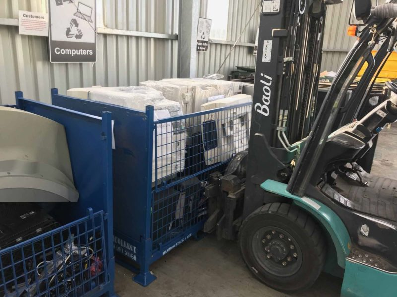 We now have three TechCollect e-waste drop-off sites in Tasmania, servicing both the north and south of the state. They are situated in Mowbray, Baretta and Mooreville. Pictured above are full stillages at our Launceston site.